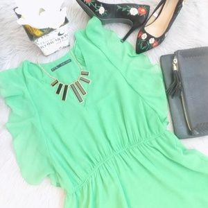 ZARA Chiffon Flutter Sleeves Dress